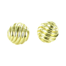 David Yurman Cable 18K Yellow Gold Sculpted Cable Button Earrings