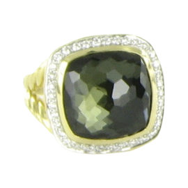 David Yurman Albion 18K Yellow Gold Green Orchid .31ct Diamond Ring Size 7
