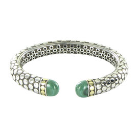 John Hardy Batu Dot 18K Yellow Gold 925 Sterling Silver Malachite Kick Cuff Bracelet