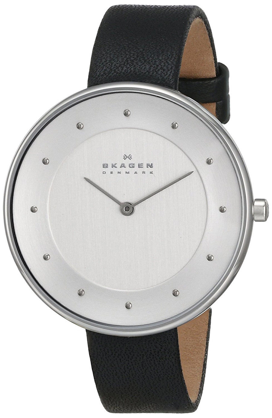 "Image of ""Skagen Skw2232 Stainless Steel & Black Leather White Dial Quartz 38mm"""