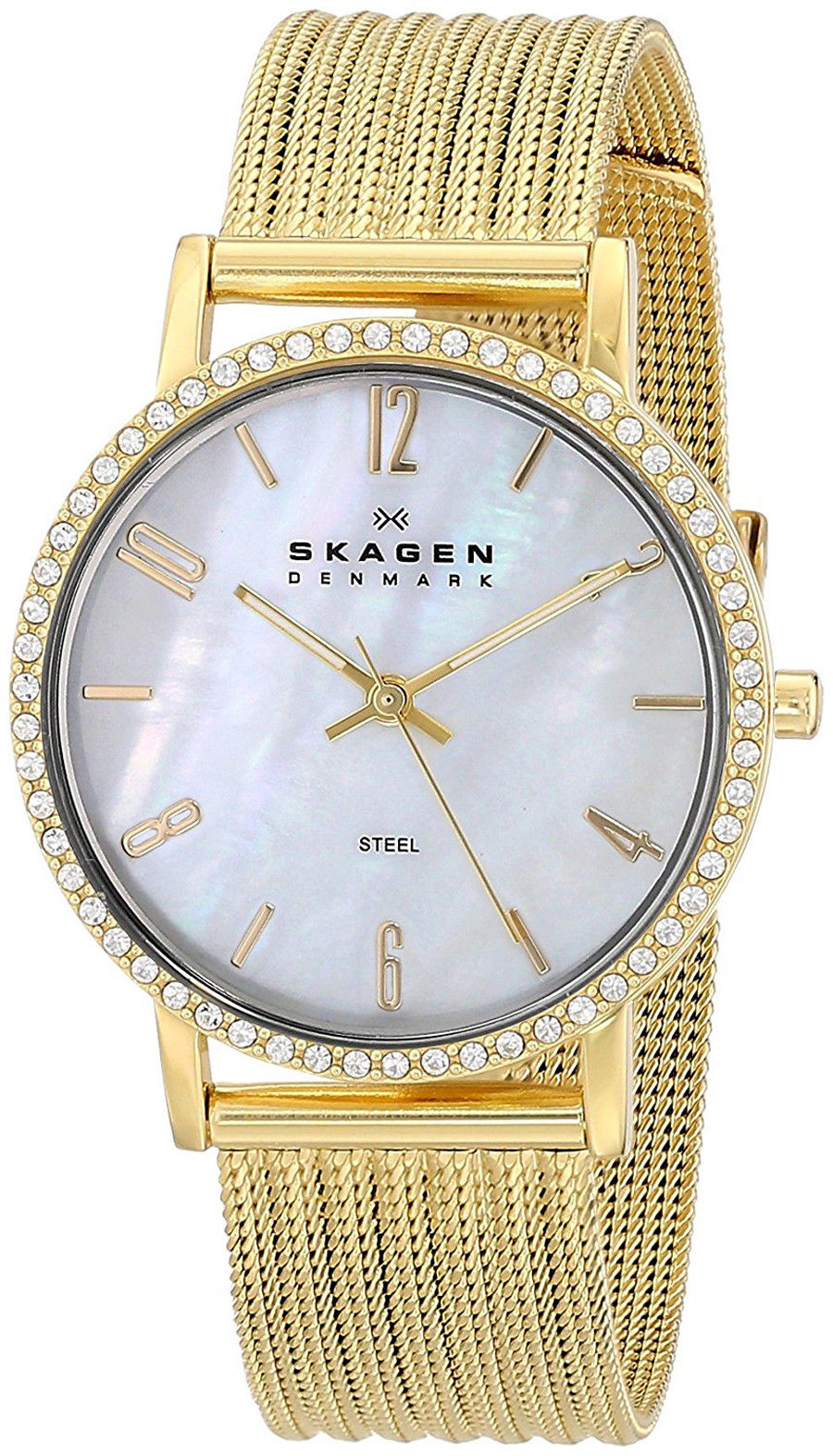 """Image of """"Skagen 922Sggg Gold Tone Stainless Steel Mother of Pearl Dial 32mm"""""""