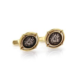 Vintage 18K Yellow Gold and Silver Stud Cufflinks
