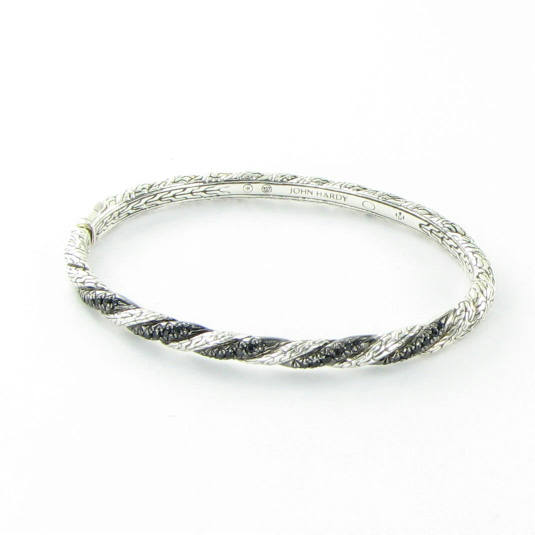 "Image of ""John Hardy Classic 925 Sterling Silver & Sapphires Twisted Bangle"""