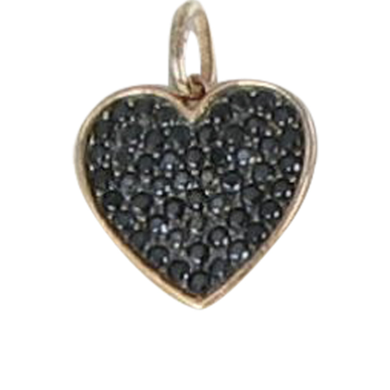 "Image of ""Tous 18K Pink Gold & 925 Sterling Silver With Black Spinels Heart"""