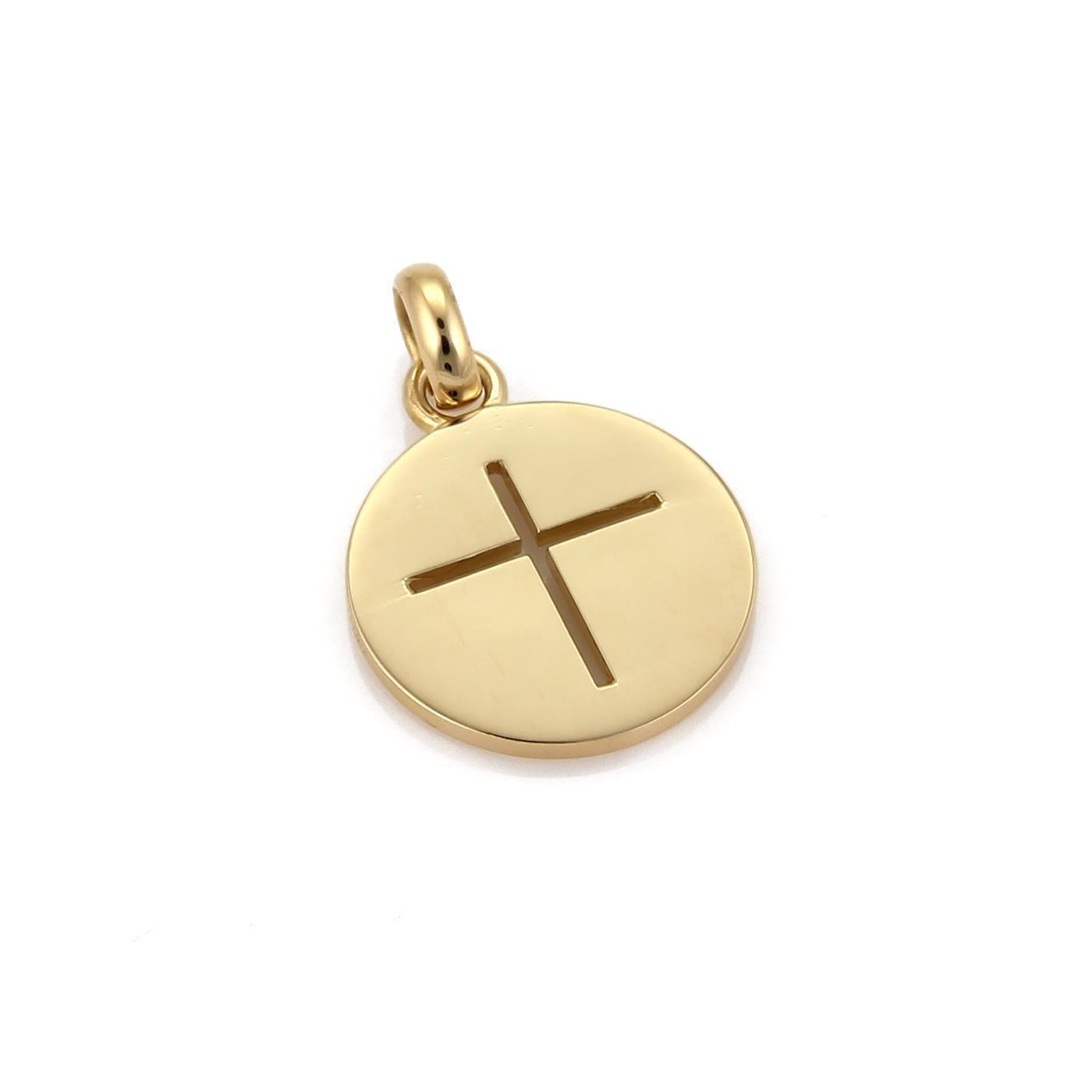 """Image of """"Cartier 18K Yellow Gold Stencil Cut Out Cross Round Pendant"""""""