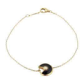 Cartier Amulette De 18K Rose Gold with Diamond & Onyx Charm Chain Bracelet