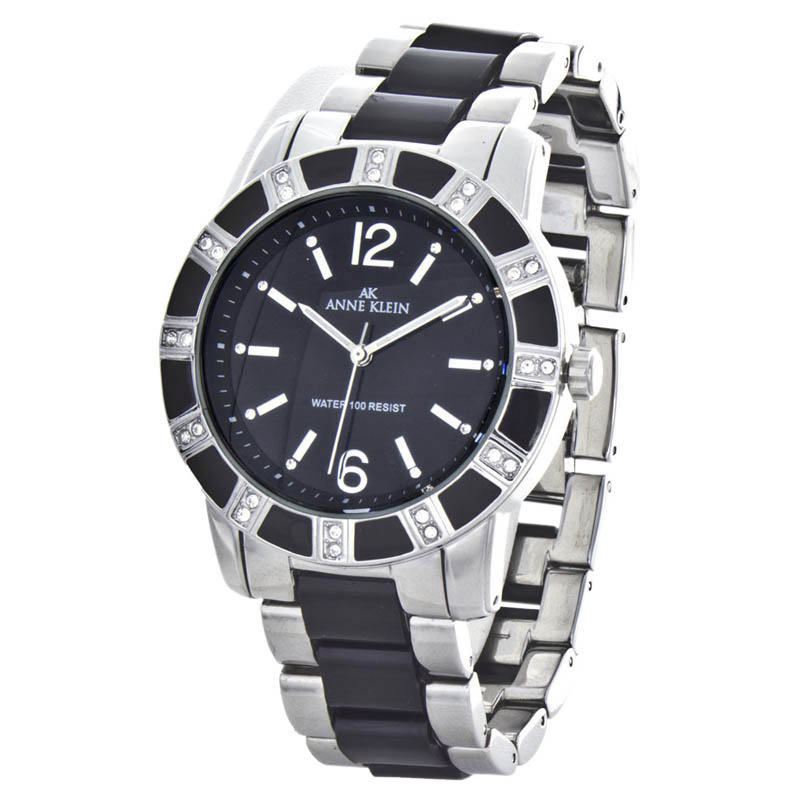 """Image of """"Anne Klein 10/9291 Stainless Steel Black Dial 40mm Womens Watch"""""""