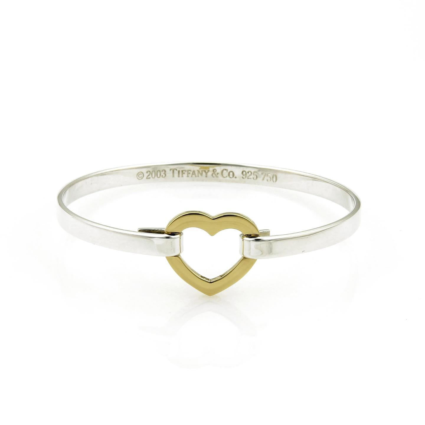 "Image of ""Tiffany & Co. 925 Sterling Silver & 18K Yellow Gold Open Heart Hook"""