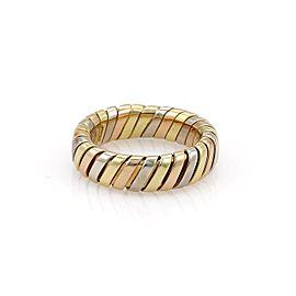 Bulgari Tubogas 18K Yellow, White & Rose Gold Band Ring Size 6