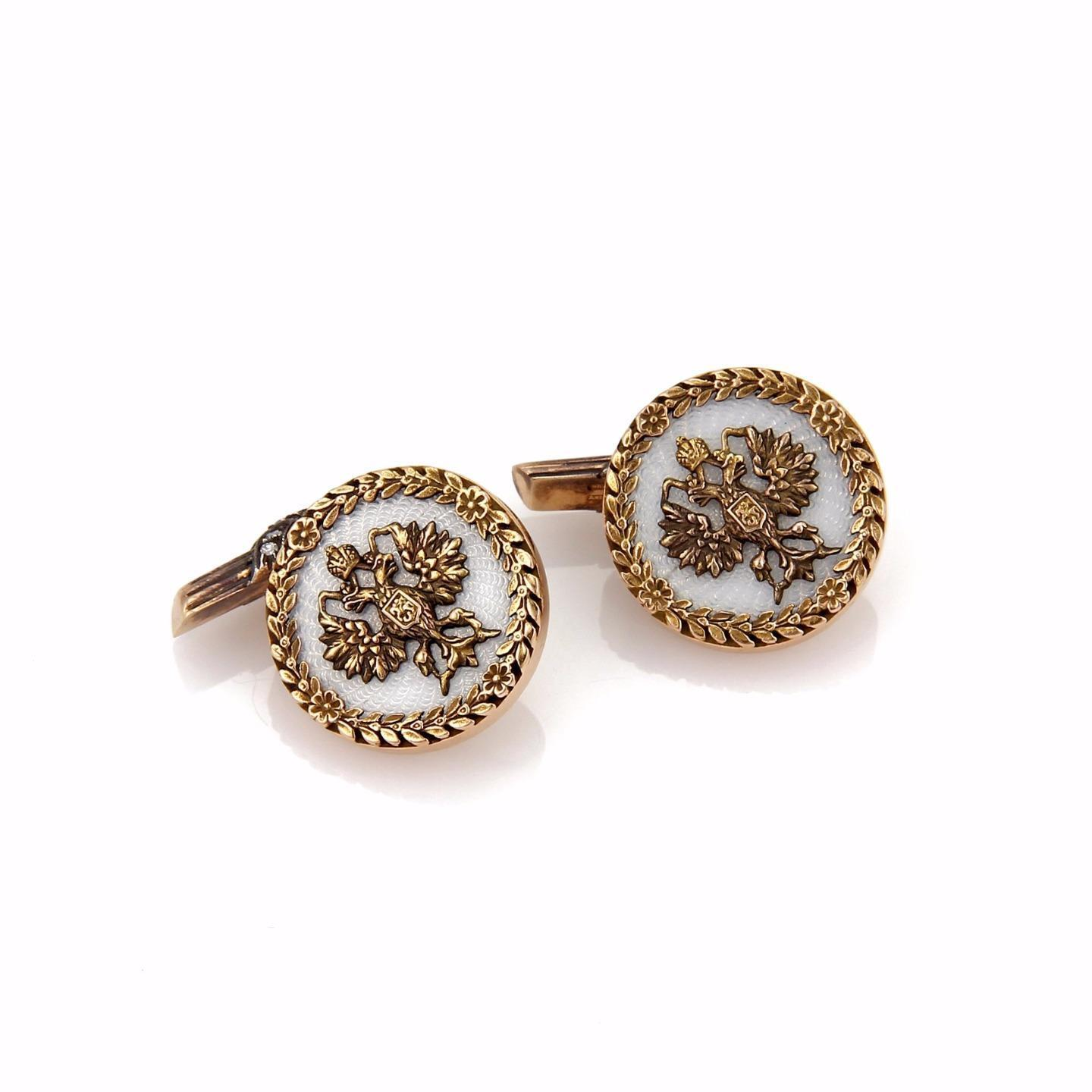 "Image of ""Faberge 14K Yellow and Rose Gold, Enamel with 0.20ct Diamond Eagle"""