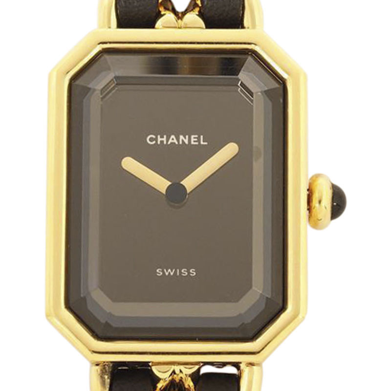 """Image of """"Chanel Premiere Gold Plated Metal and Leather Quartz 26mm Womens Watch"""""""