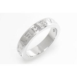 Bulgari AN853348 18K White Gold with 1P Diamond Double Logo Ring Size 4.25