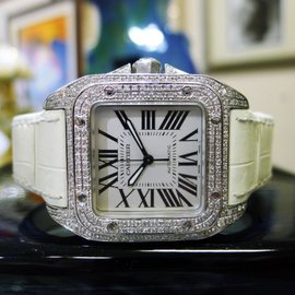 Cartier Santos 2878 Stainless Steel & Leather with Diamond Automatic 34mm Womens Watch