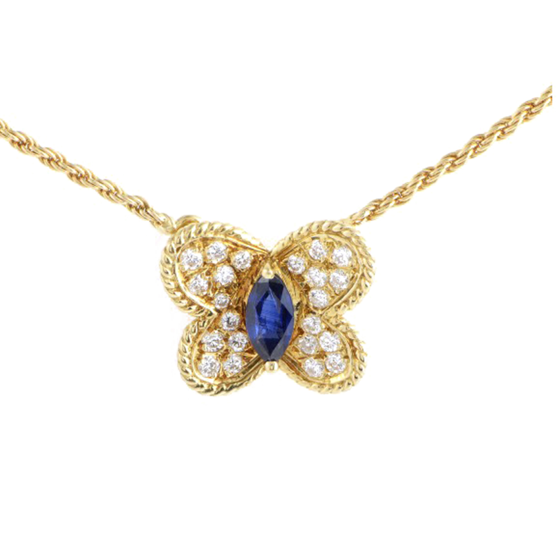 "Image of ""Graff 18K Yellow Gold Diamond & Sapphire Butterfly Pendant Necklace"""