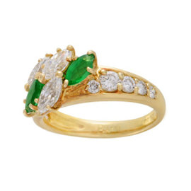 Piaget 18K Yellow Gold with 1.75ct Diamond and 0.75ct Emerald Ring Size 6.25