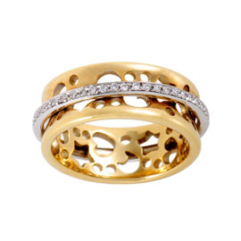 Pasquale Bruni Segni 18K Yellow and White Gold Diamond Band Ring Size 7.25