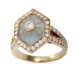 Boucheron 18K Yellow Gold with Diamond and Blue Crystal Ring Size 7.5