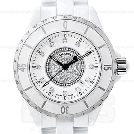 Chanel J12 Automatic H1759 White Ceramic Pave Diamond Watch