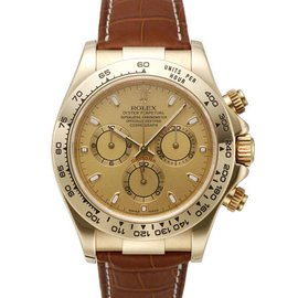 Rolex Daytona 116518 Yellow Gold Strap Champagne Dial 40mm Watch