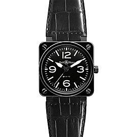 Bell & Ross BR01-92-CERAMIC Alligator Black Dial 46mm Watch