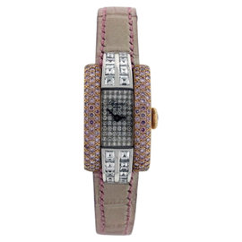Chopard 41/6616-29/8 18K Yellow Gold & Crocodile Leather 30mm Womens Watch