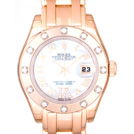 Rolex Pearlmaster 80315 Pink Gold Mother Of Pearl White Diamond Ladies Watch