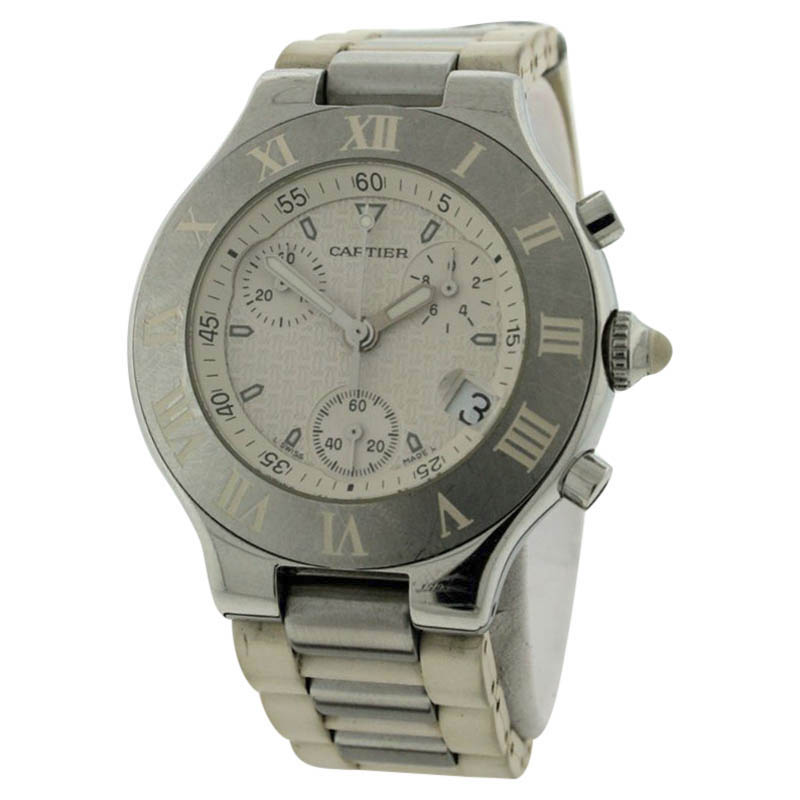 """Image of """"Cartier Must 21 Stainless Steel & Rubber 38mm Watch"""""""