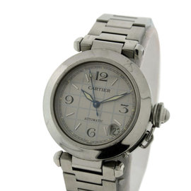Cartier Pasha C Silver Checkered Dial Automatic With Date 36mm Unisex Watch