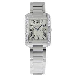 Cartier Tank Anglaise Medium wt100009 18K White Gold Watch