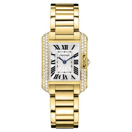 Cartier Tank Anglaise Small wt100005 18K Yellow Gold Diamond Watch