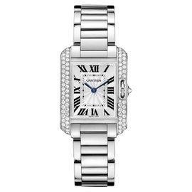 Cartier Tank Anglaise Small wt100008 18K White Gold Diamond Watch
