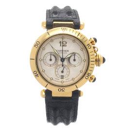 Cartier Pasha Chronograph 18K Yellow Gold White Dial Mens Watch