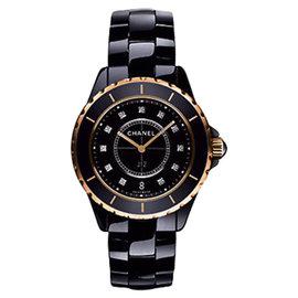 Chanel J12 H2543 Diamond Black Ceramic Rose Gold Quartz 33mm Watch