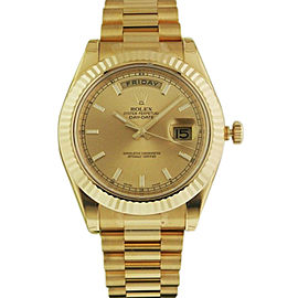 Rolex Day-Date II President 218238 Champagne Index Dial 41mm Mens Watch