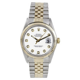 Rolex Datejust 16013 18K Gold & Steel White Diamond Jubilee 36mm Mens Watch