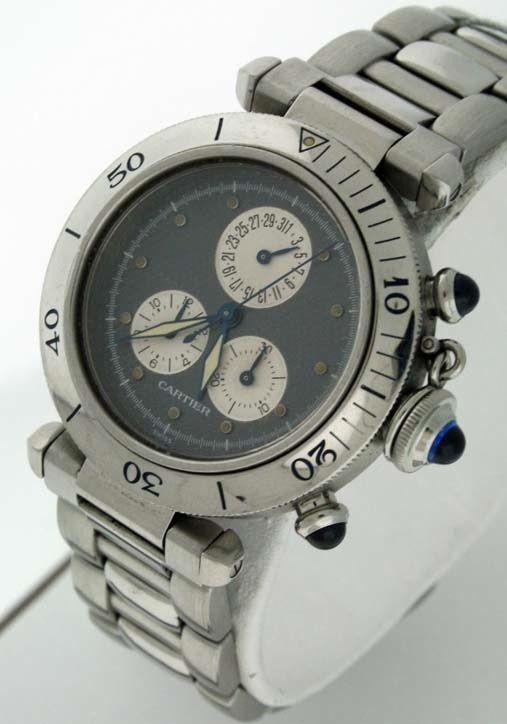 "Image of ""Cartier Pasha C Chronograph Stainless Steel Grey Dial 35mm Unisex"""