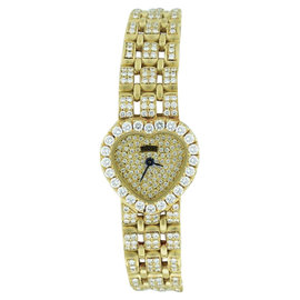 Piaget Classique Heart Shape 18K Yellow Gold with Diamonds Womens Quartz Watch