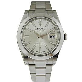 Rolex 116300 Datejust II 41mm Stainless Steel Silver Stick Index Watch