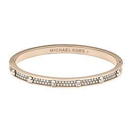 Michael Kors Rose Gold Tone Heritage Astor Hinge Pave Stud Bracelet
