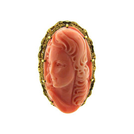 14K Yellow Gold & Carved Coral Ring