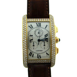 Cartier 1730 18K Yellow Gold & Diamond Leather Strap Watch