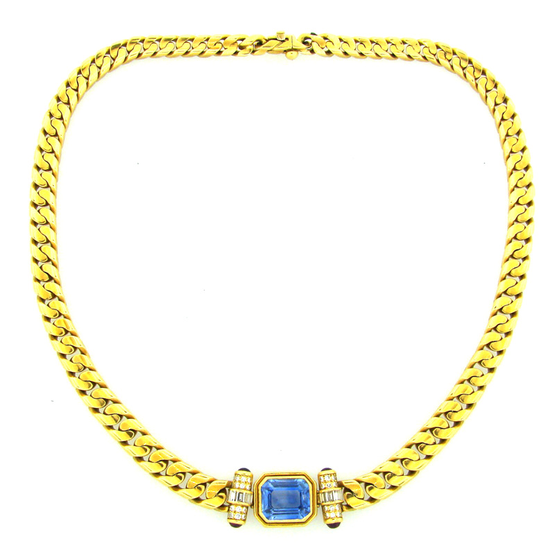 """Image of """"Bvlgari Yellow Gold Sapphire Ruby and Diamond Pendant Necklace"""""""