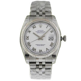 Rolex Datejust 116234 White Gold With White Roman Dial Jubilee Bezel 36mm Mens Watch