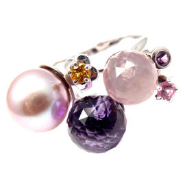 Chanel 18K White Gold Amethyst Pearl Sapphire Ring
