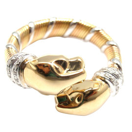 Cartier Panther Panthere 18K Tri-Color Gold Diamond Band Ring
