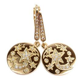 Chanel 18k Yellow Gold Comete Diamond Star Earrings