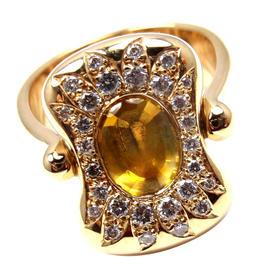 Hermes 18k Yellow Gold Diamond Yellow Sapphire Citrine Flip Ring