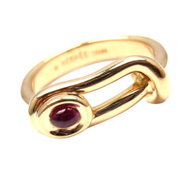 Hermes 18K Yellow Gold Cabochon Ruby Band Ring