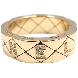 Chanel Matelasse 18K Yellow Gold Diamond Band Ring