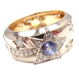 Chanel Comete 18K Yellow Gold Diamond Sapphire Band Ring